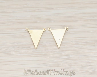 PDT837-G // Glossy Gold Plated Plain Flat Triangle Double Loops Pendant, 2 Pc
