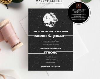 Superb Wedding Template, Printable Wedding, Editable Wedding Template, Wedding  Invitation Template, Download, Star, Wars, Wedding, Starwars, Pdf,16