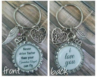 Sweet 16 Keychain - Sweet 16 Gift - Personalized Gift - Guardian Angel Gift - Custom Keychain - Custom Photo Gift - Birthday Gift