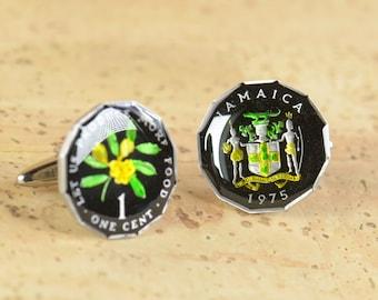 Cufflinks Jamaica enamel Coin