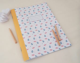 Large 20x28cm notebook illustrated with boats and anchors