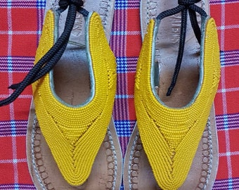 Maasai sandals / beaded sandals / leather sandals / african sandals