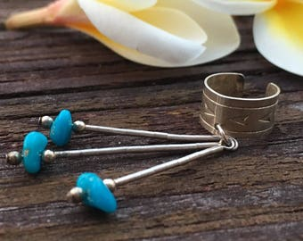 Turquoise Sterling Cuff Earring | Bohemian Earrings | Boho Earrings | Boho Earrings Gifts