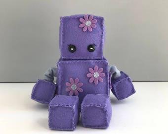 Felt robot softie - purple with flowers