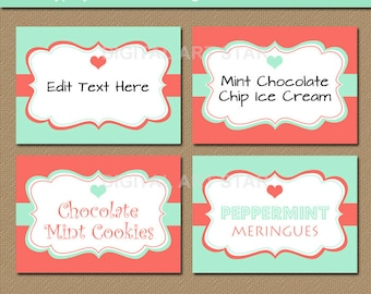 Mint and Coral Buffet Cards - Candy Buffet Labels - Digital Wedding Labels - Printable Bridal Tent Cards - EDITABLE PDF - Anniversary Labels