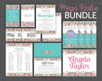 Marketing Kit, Business Card, Price Cards and Style Name Signs, Size Cards, Gift Certificate, Thank You - Floral Marketing Kit