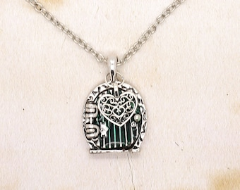 Hobbit Door Pendant With Lace Heart On Silver Tone Chain Necklace