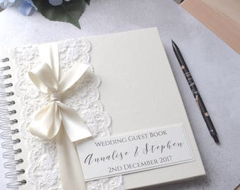 Vintage Lace Personalised Wedding Guest Book, Handmade Guestbook with Ivory Lace and Satin Bow