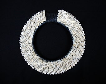 Vintage Tribal Shell Necklace PAPUA NEW GUINEA Shell Traditional Cream Cowrie Neck Ornament.New Guinea Currency Shells On Black Fiber Collar