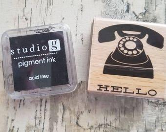 Black Ink Pad and Telephone Hello Stamp Set / Pigment Hampton Art Studio G / Rubber Wood Mounted / Mini 2 Inch square ink pad