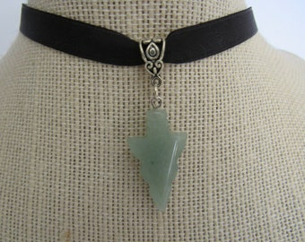 Green Aventurine Arrowhead Pendant Choker Necklace Jewelry Protection Tribal N213