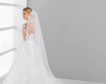 1 tier cathedral lace veil, Chantilly lace tulle cathedral veil,cathedral wedding veil, lace bottom cathedral veil