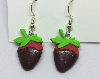 milk chocolate or white chocolate covered strawberries polymer clay earrings