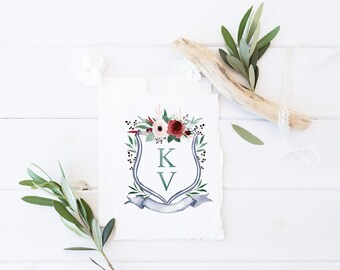 Wedding Monogram | Semi - Custom Crest Wedding Logo, Family Crest, Heraldry, Monogram - Dearest Anemone