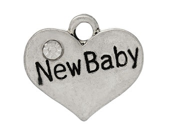 """1 or 2 or 4 or 10 pcs. Antique Silver """"New Baby"""" charm with rhinestone - 17mm X 15mm"""