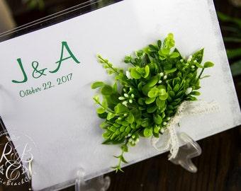 Greenery Wedding Guest Book Green Leaves Wedding Guestbook, Guest Book Pen Holder, Fresh Rustic Guest Book Alternative, Rustic Wedding Pen
