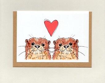 OTTER LOVE . greeting card . wedding engagement valentines anniversary love note girlfriend boyfriend friendship . australia