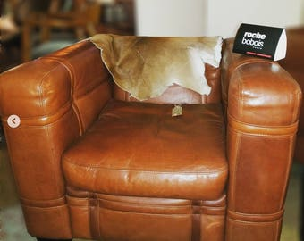 Pair of Vintage Roche Bobois Leather Belted Club Chairs