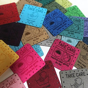 50 - 1.5 x 1.5 Faux suede - Faux suede Knitting Tags - Care Tags - Washing Instructions