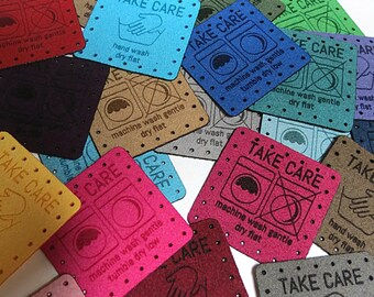 1.5 x 1.5 Faux suede - Faux suede Knitting Tags - Care Tags - Washing Instructions