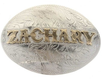 Custom Name Belt Buckle Silver Gold