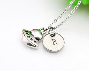 Spaceship Necklace, Silver Spaceship Charm, Spaceship Jewelry, Alien Necklace, Alien Charm, UFO Charm, UFO Alien Jewelry, Personalized Gift