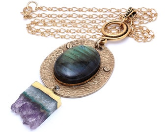 Labradorite and Quartz Pendant Necklace