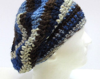 Black and Blue Slouchy Hat Chunky Cap Crochet Knit Beanie Dreadlocks Thick Big Hair Handmade Trending Oversize Dreads Boho Mans or Womans