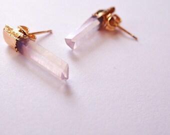 Pink Aura Quartz Point Studs, Raw Aura Quartz Earrings, Crystal Point Earrings, Genuine Crystal Earrings, Bridesmaid, Bridal Earrings