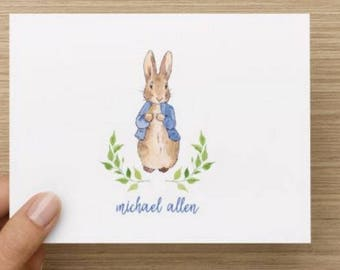 Baby thank you card: Personally designed baby boy shower card with with Peter Rabbit! Personalized.  Multiple pack sizes available.