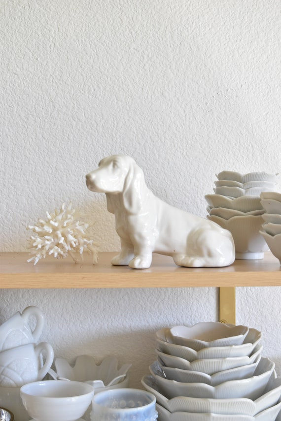 white ceramic hunting dog basset hound figurine sculpture