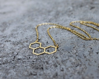 Geometric Hexagon Necklace // Honeycomb Bee Hive // Gold Silver // Minimal Necklace / Layering Necklace / Shapes Necklace / Everyday Jewelry