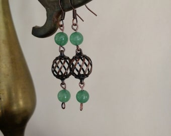 Copper Dangle Earrings with Green Beads *** Free US Shipping ***
