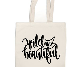 Wild and Beautiful Funny Canvas Tote Bag Market Pouch Grocery Reusable Recycle Go Green Eco Friendly Jenuine Crafts