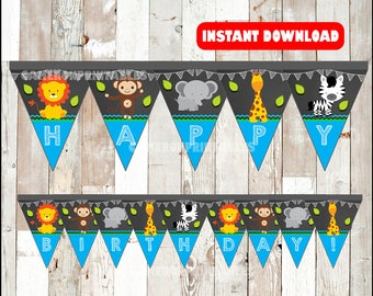 Safari Animal banner instant download , Jungle Animal triangle banner, Printable Zoo Party banner