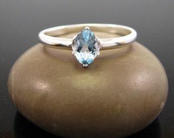Blue topaz ring, topaz silver ring, topaz ring sterling silver topaz ring - December Birthstone Ring 6х4 size 3 4 5 6 7 8 9 10 11 12 13