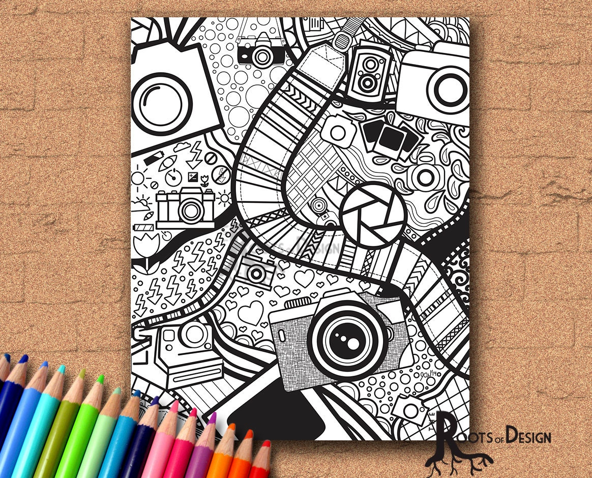 INSTANT DOWNLOAD Coloring Page Camera Art Print zentangle