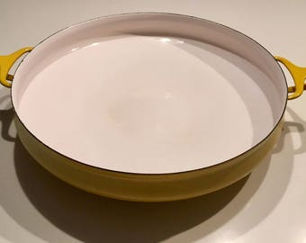 Mid-Century Yellow Enameled Steel Paella Pan by Jens Quistgaard for Dansk Design-France