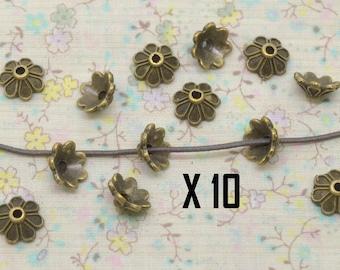 10 x Cap Cup flower 7 petal bronze metal