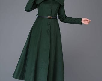 wool coat, long coat, winter coat, green coat, womens coats, princess coat, fit and flare coat, dress coat, big collar coat, maxi coat C998