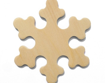 25 - 3 Inch Natural Unfinished Wood Snowflakes, Winter Decorations, Thread Winders