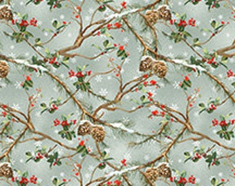 The Cardinal Rule from Wilmington Prints - Full or Half Yard Winter Branches Pine Cones Red Blossoms