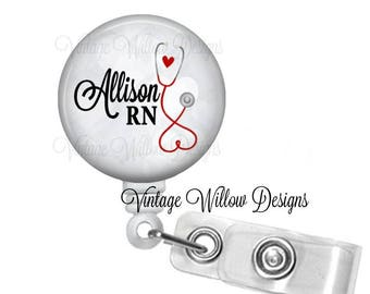 Personalized RN Gray Bokeh Heart Stethoscope Retractable ID Badge Reel