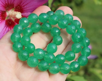 2 beads Emerald round faceted 10 MM. AR11