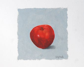 Red Apple Oil Painting - Red Delicious Fruit on Gray Background Miniature Original Oil Painting on Paper