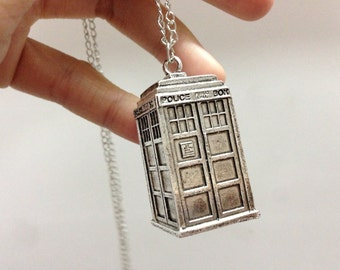 Doctor Who Tardis Necklace 3d antique silver hollow Police Box Steampunk jewelry halloween gift C356N_S