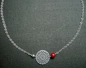 Silver mandala necklace / sea bamboo