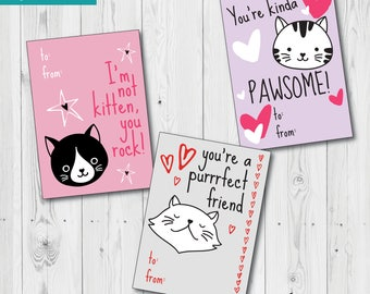 Cat Valentine's Day Cards, Printable DIY Card, School Valentines, Cat Pun Valentines, Classroom Valentines, Purrrfect Valentine's Day Cards