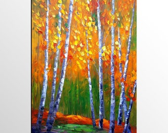Birch Tree Oil Painting, Wall Art, Canvas Painting, Large Painting, Large Art, Wall Art, Abstract Art, Abstract Painting, Original Painting