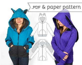 Cosplay Hoodie Sewing Pattern Paper & .pdf Tutorial Women's and Unisex Hooded Jacket with Bear Cat Rabbit Fox Ears